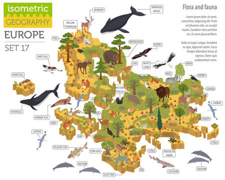 Ilustración de Isometric 3d European flora and fauna map constructor elements. Animals, birds and sea life isolated on white big set. Build your own geography infographics collection. Vector illustration - Imagen libre de derechos