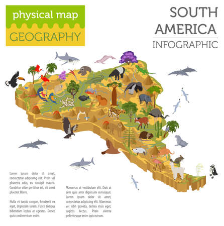 Illustration pour Isometric 3d South America flora and fauna map elements. Animals, birds and sea life. Build your own geography infographics collection. Vector illustration - image libre de droit