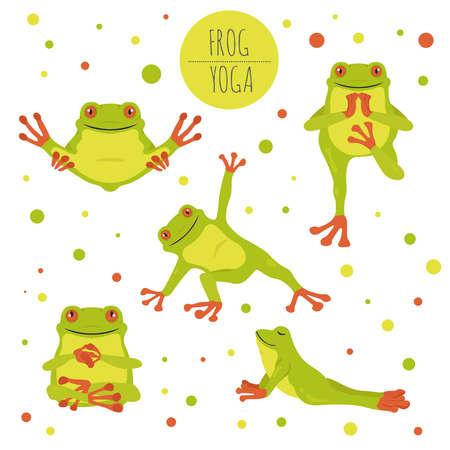 Illustration pour Frog yoga poses and exercises. Cute cartoon clipart set. Vector illustration - image libre de droit