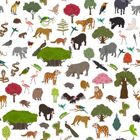 Tropical and subtropical dry broadleaf forest biome, natural region seamless pattern. Seasonal forests. Animals, birds and vegetations ecosystem design set. Vector illustration