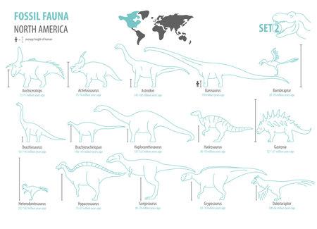 Illustration pour Fossil fauna of North America. Extinct dinosaurs Cretaceous period, Jurassic period. Simple line design vector icon set - image libre de droit
