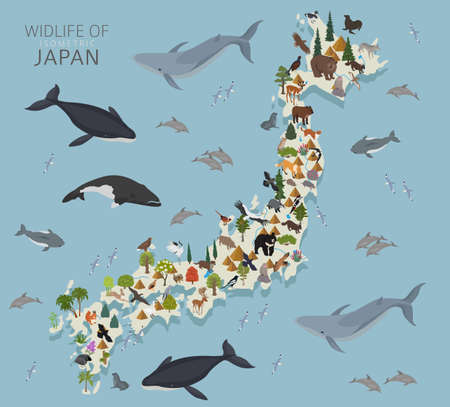 Illustration pour Isometric 3d design of Japan wildlife. Animals, birds and plants constructor elements isolated on white set. Build your own geography infographics collection. Vector illustration - image libre de droit