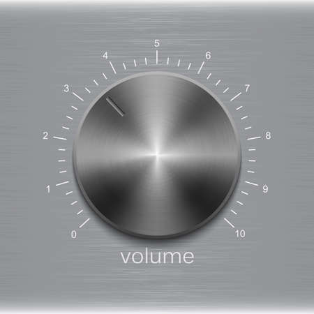 Illustration for Volume button with dark metal steel brushed texture and number scale - Royalty Free Image