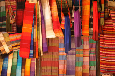 Scarfs on sale on the stand in the medina in Fes, Morocco