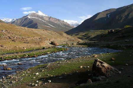 Beautiful mountain valley in the Karakorum mountains in Pakistan between Gilgit and Chitral