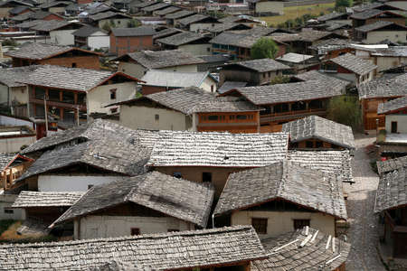 View of the rooftops of the old city in Zhongdian   Shangri – La   , Yunnan, China