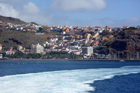 Colourful homes on a hill - San Sebastian town in La Gomera, Canary Islands, Spain
