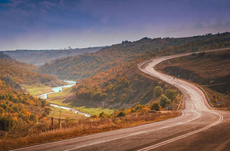 Winding mountain road in Turkey towards Istambul