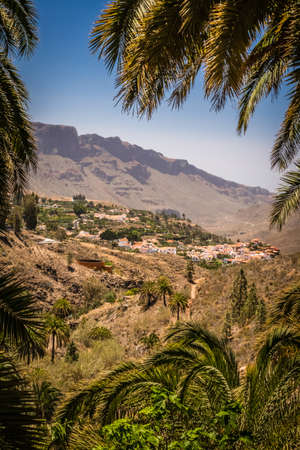 Vertical picture of a beautiful small town of Fataga in Gran Canaria Canary Islands Spain