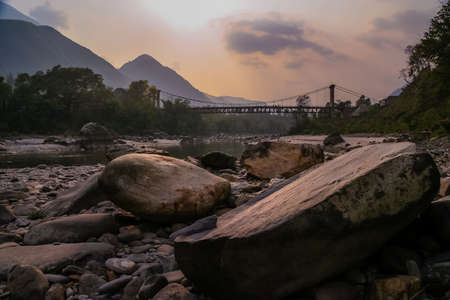 Bridge over river in the remote part of Nepal
