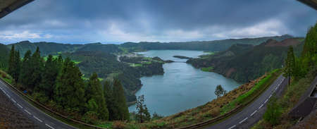 Sete Cidades twin crater lakes,  Lagoa Verde and Lagoa Azul, as seen from Vista do Rei lookout - viewpoint, Sao Miguel Island, Azores, Portugal