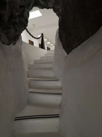 Lanzarote, Spain -  August 22, 2016:  Narrow passage inside the Cesar Marique Foundation in Tahiche, Lanzarote, Canary Islands, Spain