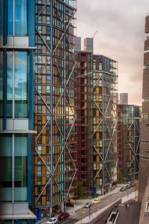 London, England -  August 2016 : Picture of London commercial buildings at evening, London, England