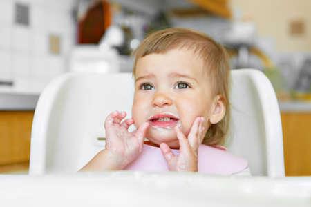 Foto für portrait of a child who smeared face with food - Lizenzfreies Bild