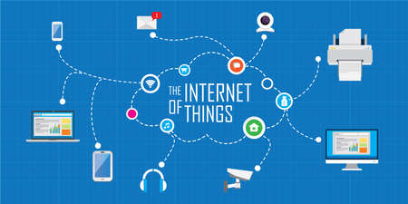 the internet of things flat iconic illustration