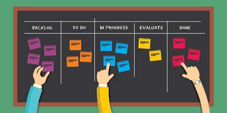 Illustration pour scrum board agile software development methodology  project management illustration - image libre de droit