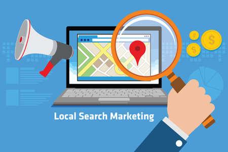 Illustration pour local search marketing vector illustration design concept - image libre de droit