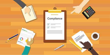 Ilustración de compliance to regulation process standard industry company vector illustration - Imagen libre de derechos