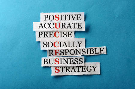 Success acronym in business concept, words on cut paper hard light