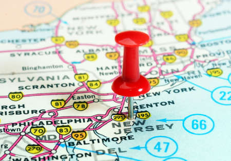 Close up of New Jersey state USA map with red pin - Travel concept ...