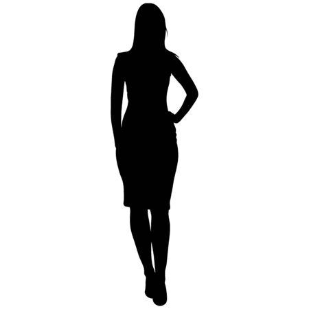 Illustration pour silhoutte of standing woman - image libre de droit