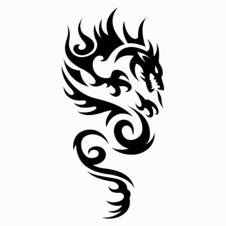 Illustration pour dragon vector illustration for tattoo designs, symbols and other designs - image libre de droit