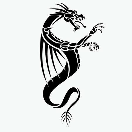 Illustration pour dragon vector tattoo - image libre de droit
