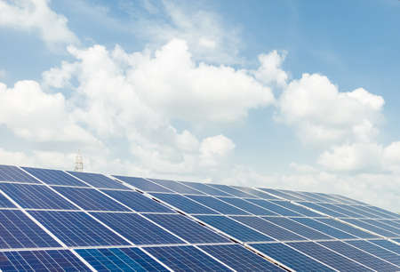 Photo pour Installed Photovoltaic solar panels / modules at solar power station. Clear sky sunny day clear closeup view. - image libre de droit
