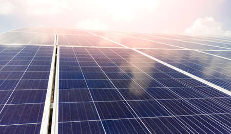 Photo for Close up view of installed solar panels or modules and clear sky, sunny day. - Royalty Free Image