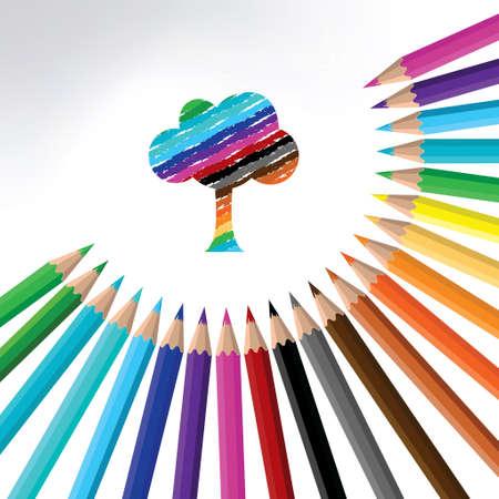 multicolor pencil and tree-illustration