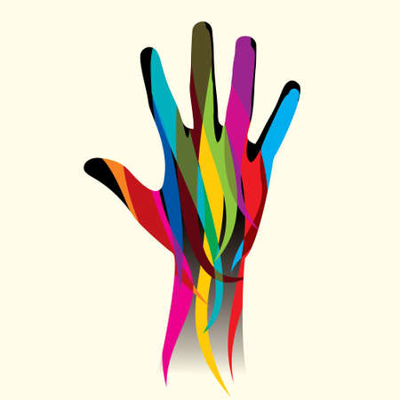 colorful hand . vector