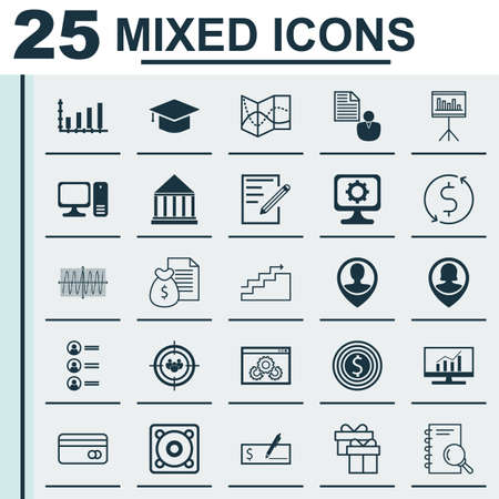 Set Of 25 Universal Icons On Focus Group, Music, Computer