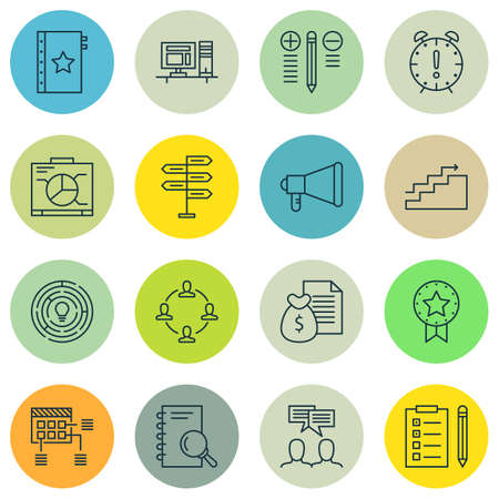 Set Of Project Management Icons On Decision Making, Time Management And Collaboration Topics. Editable Vector Illustration. Includes List, Analysis And Warranty Vector Icons.