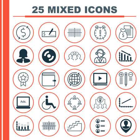 Set Of 25 Universal Editable Icons For Traveling, Business Management And Transportation Topics. Includes Icons Such As Wallet, Video Player, Cooperation And More.