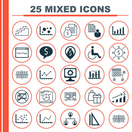 Set Of 25 Universal Editable Icons For Human Resources, Computer Hardware And Project Management Topics. Includes Icons Such As Business Deal, Sinus Graph, Tree Structure And More.