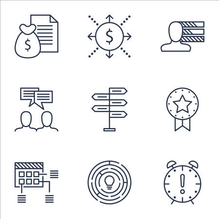 Set Of Project Management Icons On Discussion, Present Badge