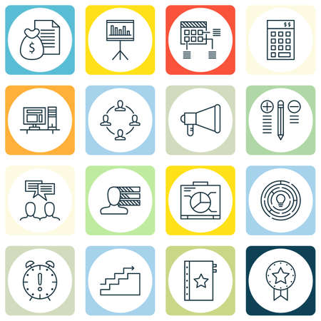 Set Of Project Management Icons On Present Badge, Report And Decision Making Topics. Editable Vector Illustration. Includes Award, Dashboard And Statistics Vector Icons.