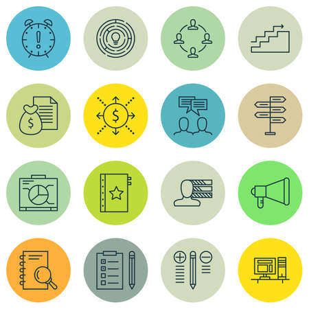 Set Of Project Management Icons On Announcement, Opportunity And Computer Topics. Editable Vector Illustration. Includes Research, Promotion And Task Vector Icons.