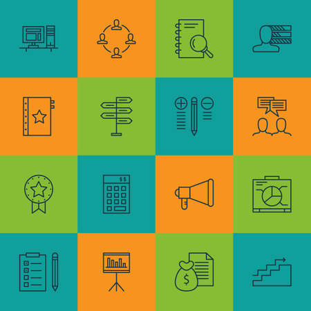 Set Of Project Management Icons On Present Badge, Analysis And Computer Topics. Editable Vector Illustration. Includes Advertising, Task And Fork Vector Icons.