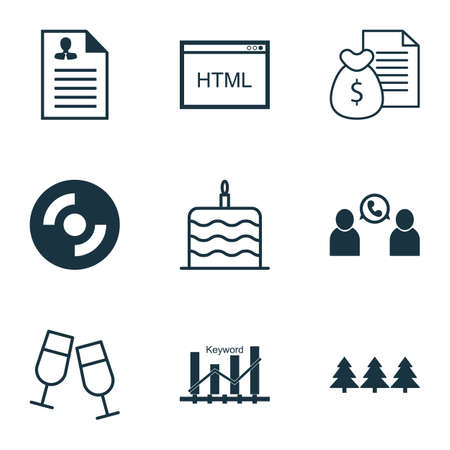 Set Of 9 Universal Editable Icons. Can Be Used For Web, Mobile And App Design. Includes Icons Such As Coding, Keyword Optimisation, Blank Cd And More.