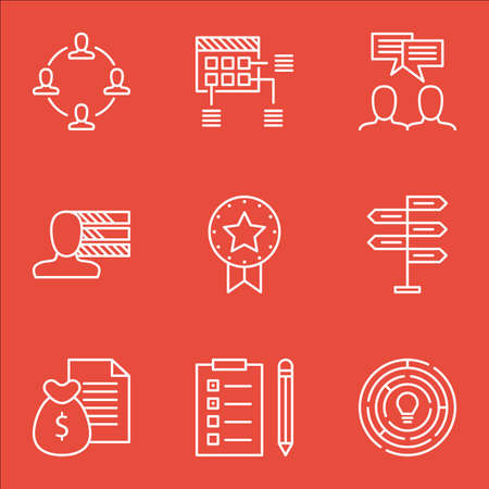 Set Of Project Management Icons On Collaboration, Present Badge And Schedule Topics. Editable Vector Illustration. Includes Brainstorming, Task And Revenue Vector Icons.