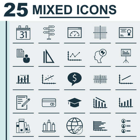 Set Of 25 Universal Editable Icons. Can Be Used For Web, Mobile And App Design. Includes Icons Such As Cosinus Diagram, Opportunity, Paper And More.