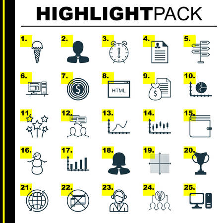 Set Of 25 Universal Editable Icons. Can Be Used For Web, Mobile And App Design. Includes Icons Such As Collaborative Solution, World, Business Woman And More.