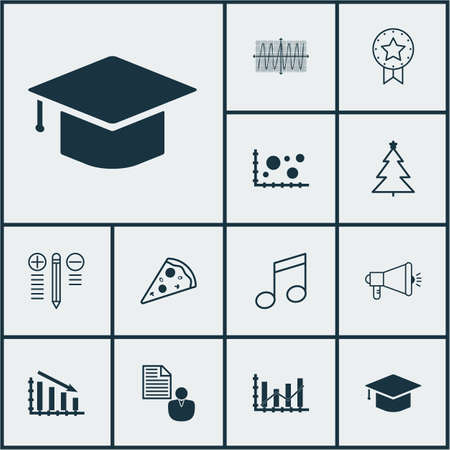 Set Of 12 Universal Editable Icons. Can Be Used For Web, Mobile And App Design. Includes Icons Such As Fail Graph, Cosinus Diagram, Report And More.