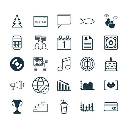Set Of 25 Universal Editable Icons. Can Be Used For Web, Mobile And App Design. Includes Icons Such As Connectivity, SEO Brainstorm, Calculation And More.