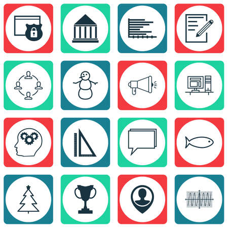 Set Of 16 Universal Editable Icons. Can Be Used For Web, Mobile And App Design. Includes Icons Such As Employee Location, Security, Conference And More.