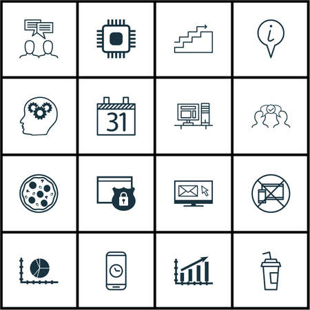 Set Of 16 Universal Editable Icons. Can Be Used For Web, Mobile And App Design. Includes Icons Such As Newsletter, Drink Cup, Call Duration And More.