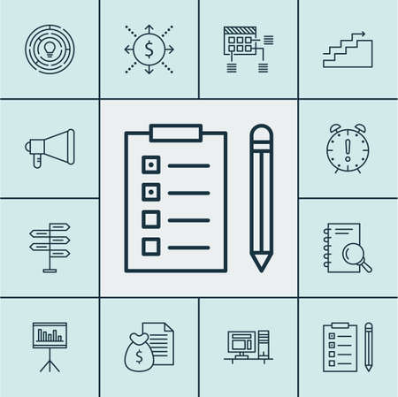 Set Of Project Management Icons On Innovation, Announcement And Report Topics. Editable Vector Illustration. Includes Research, Brainstorm, Notebook And More Vector Icons.