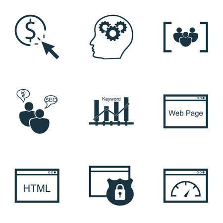 Set Of Advertising Icons On PPC, Keyword Optimisation And Questionnaire Topics. Editable Vector Illustration. Includes Performance, Brain, Consulting And More Vector Icons.