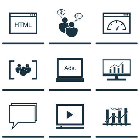 Set Of Advertising Icons On Keyword Optimisation, Coding And Video Player Topics. Editable Vector Illustration. Includes HTML, Ranking, Display And More Vector Icons.
